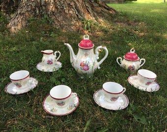 Made in Japan Lusterware Demitasse Tea Set, Tea Pot, Tea Cups, Tea Saucers, Sugar Bowl, Creamer