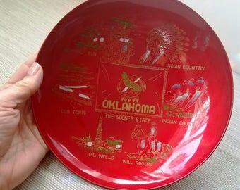 60s Oklahoma Souvenir Bowl, Red & Black Lacquer Made in Japan, Sooner State Memorabilia Bowl