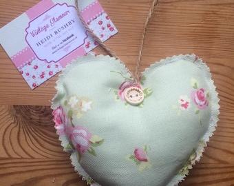 Sage Rosebud Padded Heart