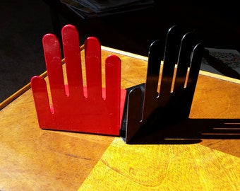 Vintage Hand Bookends, Spectrum Company Red and Black