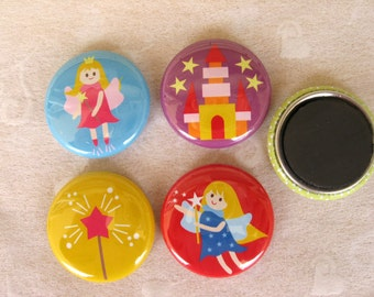 4 Fairy Magnets, 4 One Inch Assorted Fairy Magnets, Fairy Pins, Fairy Party Favors, Fairy Princess, Fridge Magnet, One Inch Pinbacks