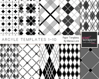 Argyle Paper Pattern Templates Overlays - Digital Scrapbooking, digital papers, PSD, INSTANT DOWNLOAD, commercial use
