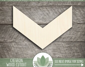 Wood Chevron Cutout, Wooden Laser Cut Chevron Shape, Unfinished Wood For DIY Projects, Chevron Wall Decor, Wood Sign Making Supplies