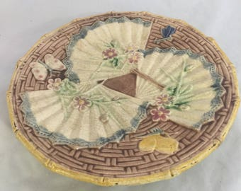 Antique Majolica Pedestal Dish With Fans