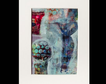 """5x7 Abstract Acrylic Painting with 8x10 White Mat Frame from the series, """"Woman"""", (three of five)"""