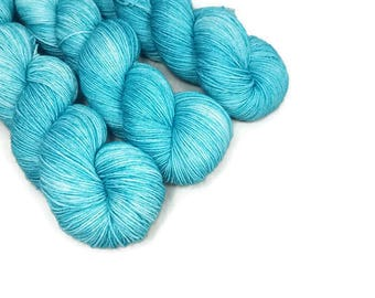 Hand Dyed Yarn 'Teal Me More' - Sock Weight Tonal Yarn - 463yd/100g of 75/25 Merino/Nylon Superwash Teal Tonal Yarn