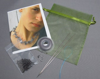 Sea Lace - Knitted Necklace Kit using silk and stainless steel yarn or wool and stainless steel yarn and beads.