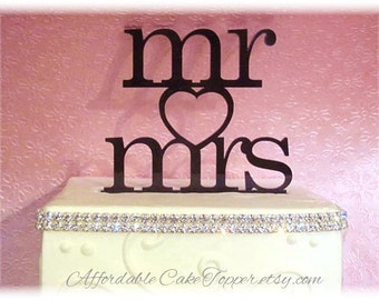 Wedding Cake Topper - Mr and Mrs - Mr and Mr - Mrs and Mrs - Heart Cake Topper - Custom Cake Topper Bride and Groom