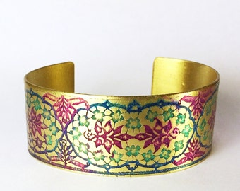 Etched Brass Cuff Bracelet Hand Painted Flowers - Free Domestic Shipping