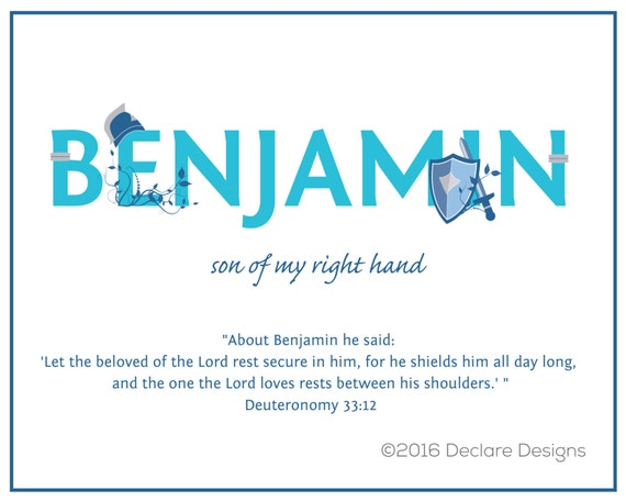 BENJAMIN Name Art Canvas-Turquoise with Name Meaning and Scripture Verse, 16x20 - Wall art baby name meaning