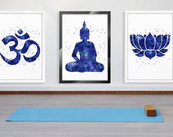 Yoga Studio Decor, Spiritual Print, Lotus, Buddha, New Age, Yoga Wall Art, Meditation Wall Decor, Buddha Wall Art, Buddhist Decor, Zen Art