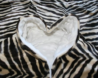 White Minky & Brown Zebra Blanket