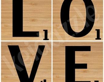 "LOVE ""scrabble"" tile coaster set"