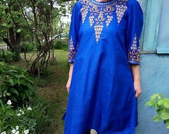 Electric blue dress Indian kurta women Ethnic Beads Embroidered dress Festival kurta Ethnic dress tunic Boho Bohemian women dress top