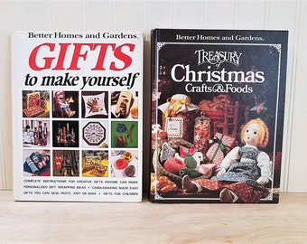 Vintage Christmas Books 2 Better Homes and Gardens Gifts To Make Yourself Treasury of Christmas Crafts and Foods Book DIY Christmas Decor