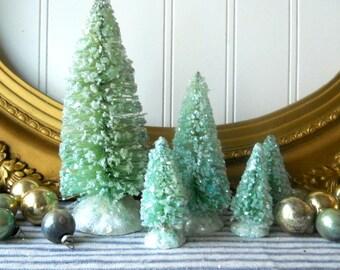 5 Bottle brush trees vintage style Christmas decorations Aqua green Farmhouse Cottage Chic Holiday decor