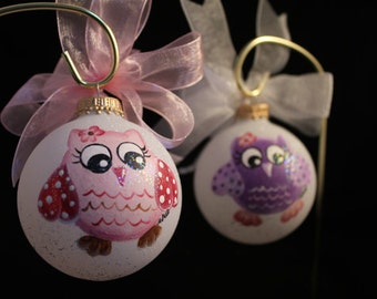 Hand Painted Owl Ornament - Personalized Free