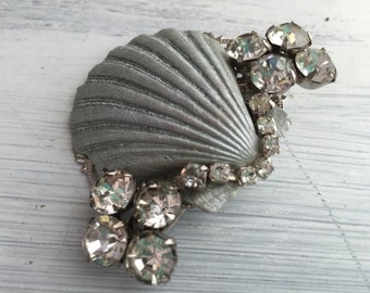 Beach Wedding No.18 - Shimmering Silver Seashell and Vintage Rhinestone Assemblage Bridal Hair Comb, Coastal Wedding