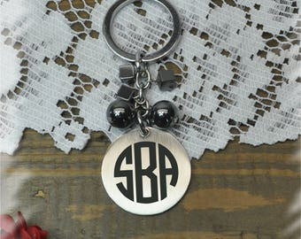 Monogram Stainless steel key chain , Bridesmaid Gift , Custom Wedding Gift, Name Initials key chain, Handmade monogram key chain
