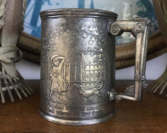 Victorian Silverplate Charming Little Bo Peep Lost Her Sheep Baby Child Youth Cup Reed Barton Silversmith