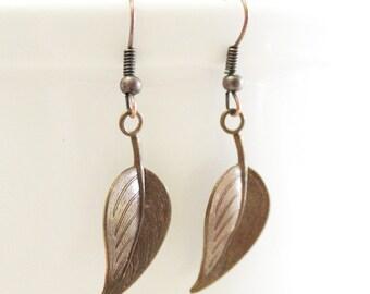 Bronze leaf earrings, rustic bronze leaves, simple earrings