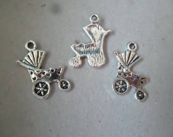 x 5 pendants/charm silver pram motif antique 19 x 15 mm