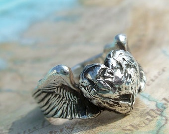 Silver Jewelry, Silver Rings, Sterling Silver Ring Gift, Sterling Silver Rings, Eco Friendly Silver Rings, Heart & Wings Ring in Silver
