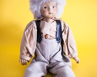 Vintage Collectible Kein Spielzeug Doll Porcelain Germany Ceramic Doll Toy Rare Old Hamburg 1970s