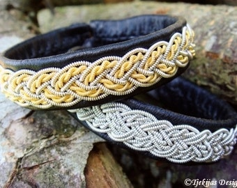 Swedish Sami Bracelet VIMUR Two Tone Bracelet Cuff in Black Leather with 14K Gold and Pewter wire Braid - Handcrafted Natural Elegance