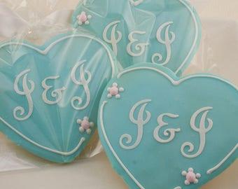 Monogrammed Heart Cookies, Wedding Cookies, Anniversary - 12 Decorated Sugar Cookie Favors