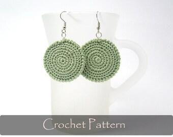 CROCHET PATTERN - Round Fabric Crochet Earrings Circle Pattern Earrings Geometric Pattern Zen Pattern Earrings PDF - P0015
