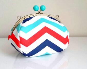 Chevron clutch bag / Handbag / Gift for women ,  Wedding clutch, bridal gift, Wedding Accessories , chevron Purse Frame , bridesmaids clutch