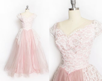 Vintage 1950s Dress - ALFRED ANGELO Pink Tulle Lace Full Skirt Party Wedding Gown 50s - Small S
