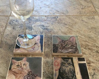 Stone tile cats, ginger cat, tabby cat, cat coasters