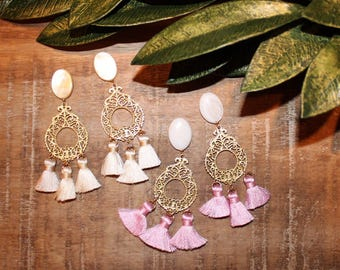 Tassel Dangle Earrings on Pearl Studs