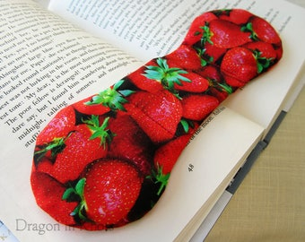 Strawberry Book Weight- photorealistic reading aid, red weighted bookmark page holder, Valentine's Day gift, berry fruit, to hold book open