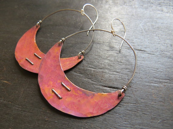 Stitched Copper Crescent Earrings
