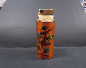 Sascha Brastoff  flowered enameled cigarette table butain gas lighter