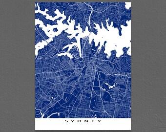 Sydney Map Print, Sydney Art, Sydney Australia, City Map Art
