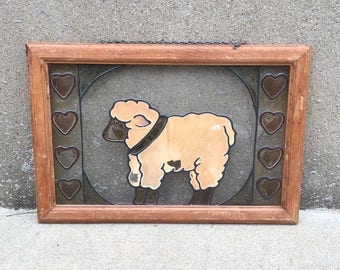 Vintage Lamb Stained Glass - Framed