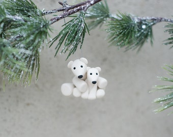 Mama and Cub Polar Bears - Hand Crafted Clay Ornament
