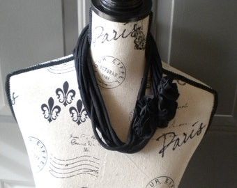 Jersey Scarf Necklace with Rosettes in Black