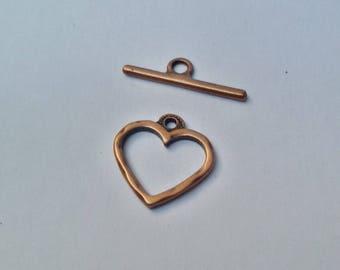 Heart 20 mm antique copper toggle clasp