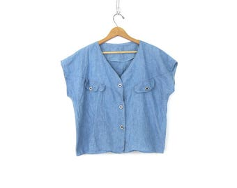 Blue Cotton Blouse Button Up Cropped Sleeveless 1980s Basic Hipster Tee Crop Jean Color Shirt Vintage Womens size Medium Large