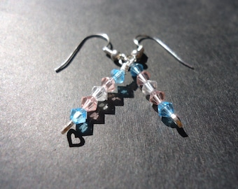 Crystal Transgender Pride Flag Beaded Dangle Earrings with heart FREE SHIPPING to USA