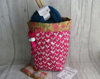 Birds Knitting Project Bag, Birds Crochet Bag, Bird dice bag, sock project bag, bird wip bag, drawsting bag, crochet, weaving, embroidery,