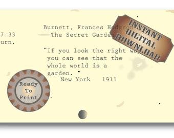 Garden Quote~ The Secret Garden Library Card Catalog Card Digital File