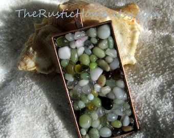 Beach ocean sea pendant ready to ship colorful beach glass stones Valentine's Day gifts custom pendant jewelry copper rustic earthy