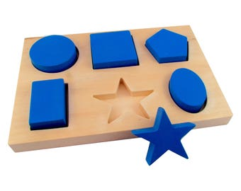 Montessori Shape Sorting Board - Montessori Shape Learning Board - Toddler Shape Toy by MDH Toys
