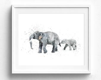 Elephant art, elephant art print, elephant nursery, elephant painting, nursery wall art, watercolor elephant, elephant wall decor, elephants